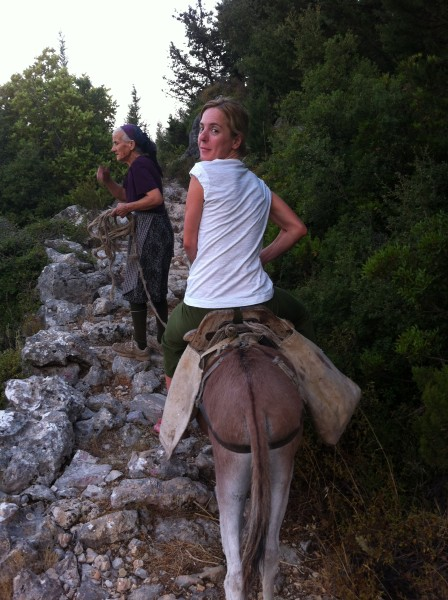 My grand aunt wanted me to ride the donkey all the rocky path down to the orchards. She said I could do that quite well. Believe me, it is not as easy as it seems.