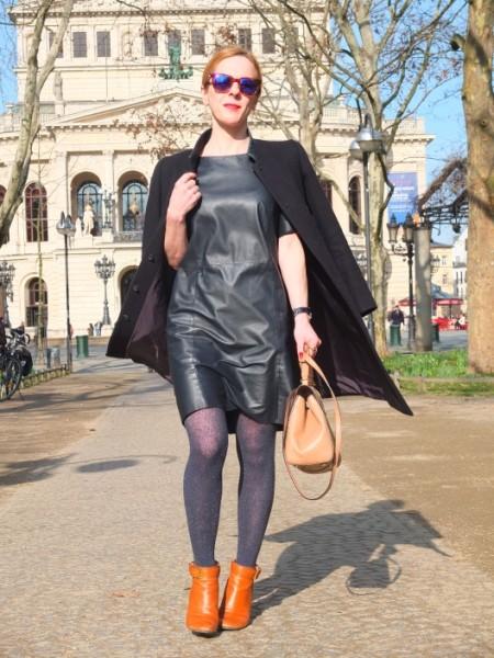 Frankfurt, Alte Oper Platz: Jil Sander coat, Cos leather dress, Sheriff & Cherry sunglasses